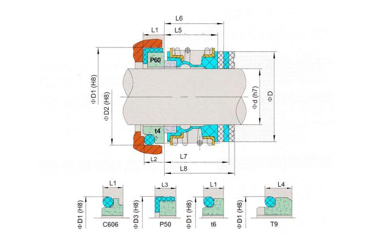 Drawing of mechanical seal KRT D520